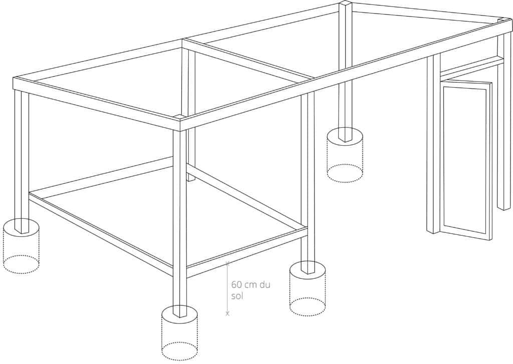 2.7 : ajout de la structure pour accueillir le sol de la zone fermée