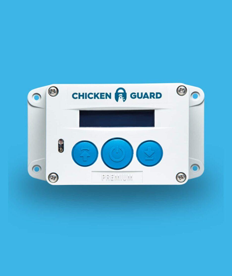 Portier automatique poulailler ChickenGuard Premium, fond de couleur bleu