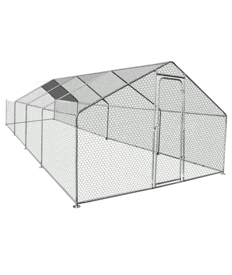 Enclos poulailler de 24m2 (2 poules) en acier galvanisé